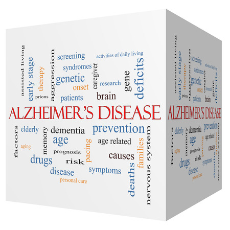 deficits: Alzheimers Disease 3D cube Word Cloud Concept with great terms such as elderly, genetic, dementia and more.