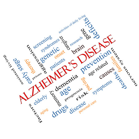 causes: Alzheimers Disease Word Cloud Concept angled with great terms such as elderly, genetic, dementia and more.