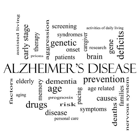 deficits: Alzheimers Disease Word Cloud Concept in black and white with great terms such as elderly, genetic, dementia and more.