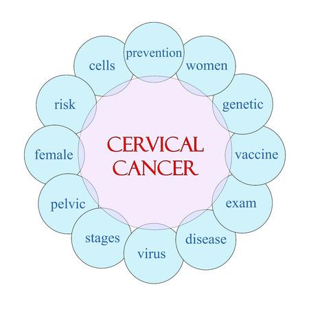 cervicales: Concepto de Cáncer Cervical diagrama circular en rosa y azul con los términos como las mujeres, el virus, prevención y más.