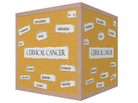 Cervical Cancer 3D cube Corkboard Word Concept with great terms such as women, virus, risk and more.
