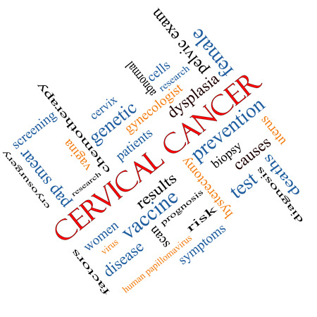 Cervical Cancer Word Cloud Concept angled with great terms such as prevention, women, virus and more. photo