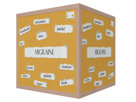 triggers: Migraine 3D cube Corkboard Word Concept with great terms such as painful, rx, stress and more. Stock Photo