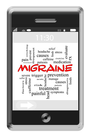 Migraine Word Cloud Concept of Touchscreen Phone with great terms such as severe, headaches, pain and more. photo