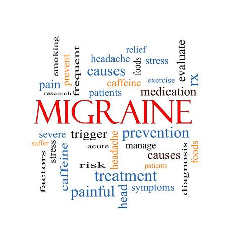 Migraine Word Cloud Concept with great terms such as headache, severe, trigger and more. photo