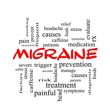 Migraine Word Cloud Concept in red caps with great terms such as headache, severe, trigger and more. photo