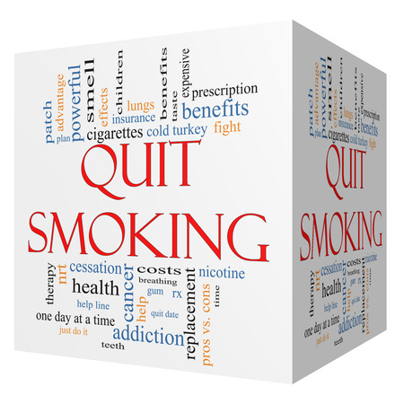 nicotine patch: Quit Smoking Word Cloud Concept on a 3D cube with great terms such as nicotine, cold turkey, quit date, patch and more. Stock Photo