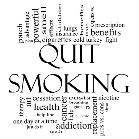 nicotine patch: Quit Smoking Word Cloud Concept in black and white with great terms such as nicotine, cold turkey, quit date, patch and more.