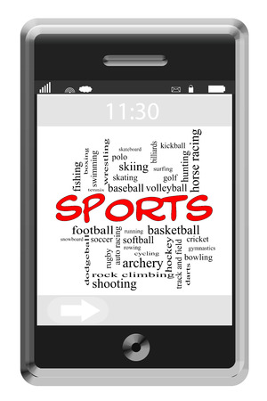 kickball: Sports Word Cloud Concept of Touchscreen Phone with great terms such as swimming, football, golf and more.