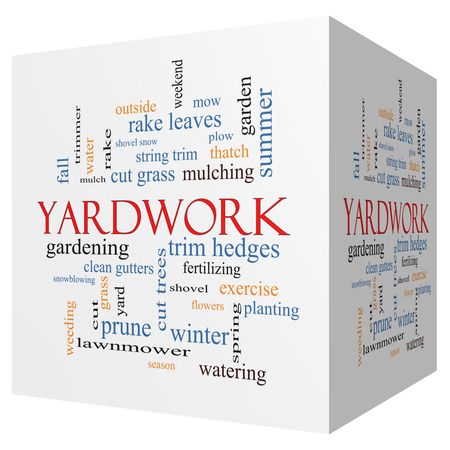 Yardwork 3D cube Word Cloud Concept with great terms such as cut grass, mow, prune and more.
