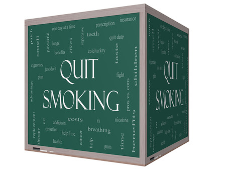nicotine patch: Quit Smoking Word Cloud Concept on a 3D cube Blackboard with great terms such as nicotine, cold turkey, quit date, patch and more. Stock Photo