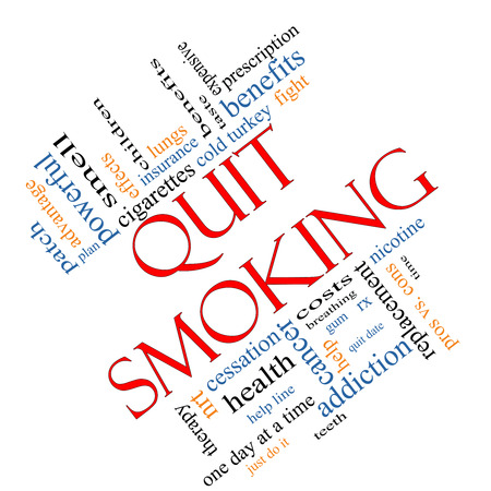 nicotine patch: Quit Smoking Word Cloud Concept angled with great terms such as nicotine, cold turkey, quit date, patch and more.