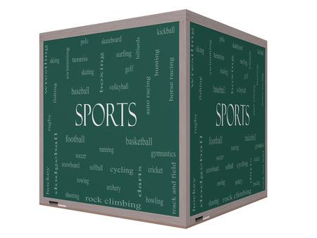 Sport Word Cloud Concept sur un tableau noir de cube 3D avec de grands termes tels que le football, le baseball, le basket-ball et plus.
