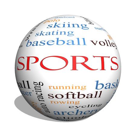 Sport 3D sphère Word Cloud Concept avec des termes tels que le football, le baseball, le basket-ball et plus.