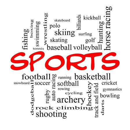 Sport Concept Word Cloud en bonnets rouges avec des termes tels que le football, le baseball, le basket-ball et plus.