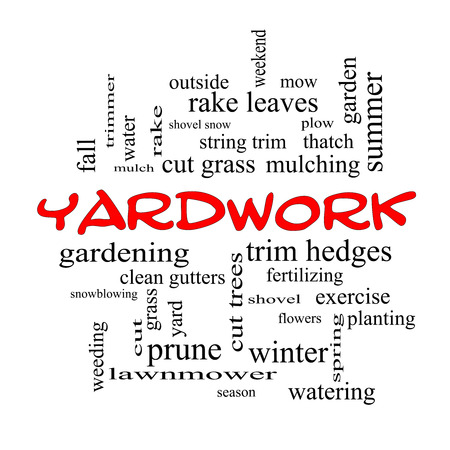 plows: Yardwork Word Cloud Concept in red caps with great terms such as cut grass, mow, prune and more.