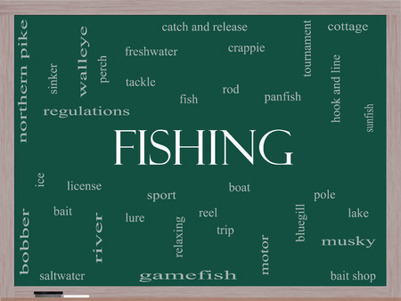bluegill: Fishing Word Cloud Concept on a Blackboard with great terms such as bobber, lure, pole and more. Stock Photo