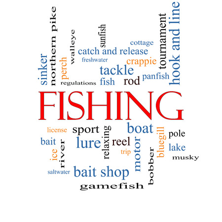 bobber: Fishing Word Cloud Concept with great terms such as bobber, lure, pole and more. Stock Photo