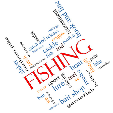 bluegill: Fishing Word Cloud Concept angled with great terms such as bobber, lure, pole and more.