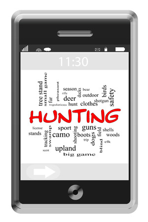 Hunting Word Cloud Concept of Touchscreen Phone with great terms such as deer, game, gun and more. photo