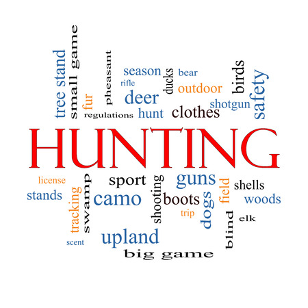 Hunting Word Cloud Concept with great terms such as shotgun, game, deer and more. photo