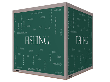 Fishing Word Cloud Concept on a 3D cube Blackboard with great terms such as bobber, lure, pole and more. photo