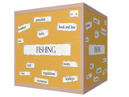 Fishing 3D cube Corkboard Word Concept with great terms such as gamefish, lure, pole and more. photo