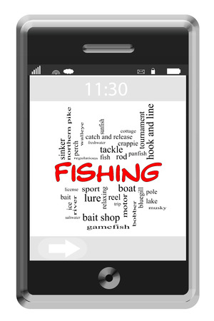 Fishing Word Cloud Concept of Touchscreen Phone with great terms such as boat, trip, lure and more. photo