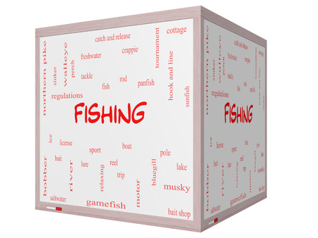 Fishing Word Cloud Concept on a 3D cube Whiteboard with great terms such as bobber, lure, pole and more. photo
