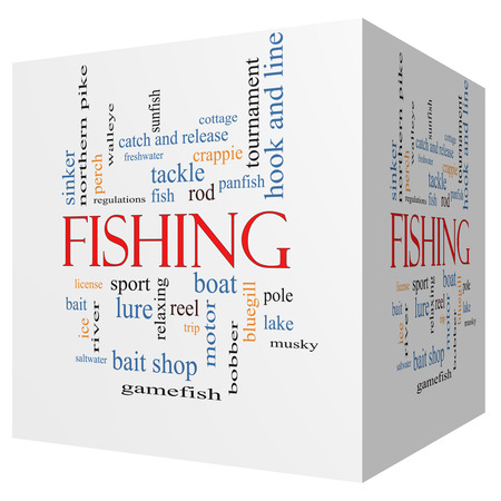 Fishing 3D cube Word Cloud Concept with great terms such as bobber, lure, pole and more. photo