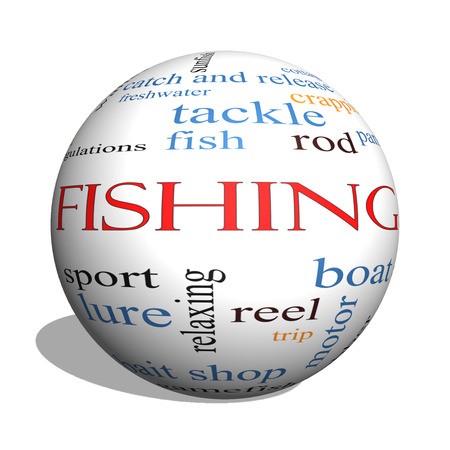 Fishing 3D sphere Word Cloud Concept with great terms such as bobber, lure, pole and more. photo