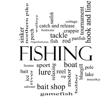 Fishing Word Cloud Concept in black and white with great terms such as bobber, lure, pole and more. photo