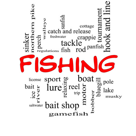 bluegill: Fishing Word Cloud Concept in red caps with great terms such as bobber, lure, pole and more.
