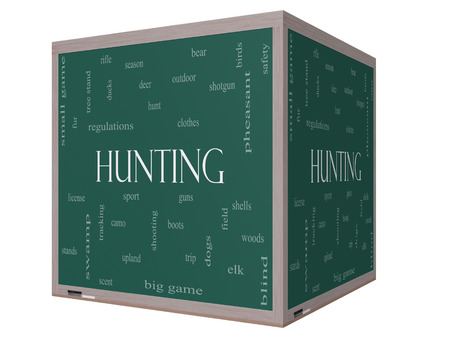 Hunting Word Cloud Concept on a 3D cube Blackboard with great terms such as shotgun, game, deer and more. photo