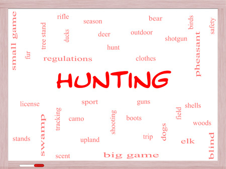Hunting Word Cloud Concept on a Whiteboard with great terms such as shotgun, game, deer and more. photo
