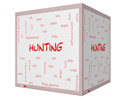 Hunting Word Cloud Concept on a 3D cube Whiteboard with great terms such as shotgun, game, deer and more. photo