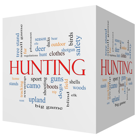 Hunting 3D cube Word Cloud Concept with great terms such as shotgun, game, deer and more. photo