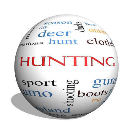 Hunting 3D sphere Word Cloud Concept with great terms such as shotgun, game, deer and more. photo