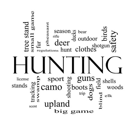 Hunting Word Cloud Concept in black and white with great terms such as shotgun, game, deer and more. photo