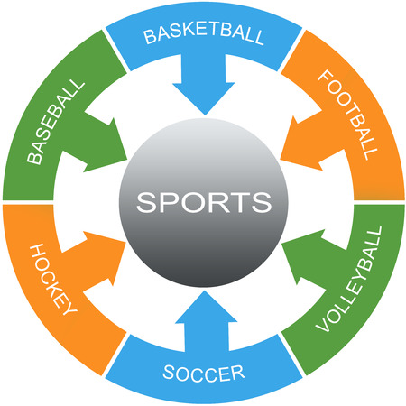 Sports Word Circles Concept with great terms such as football, baseball, hockey and more.