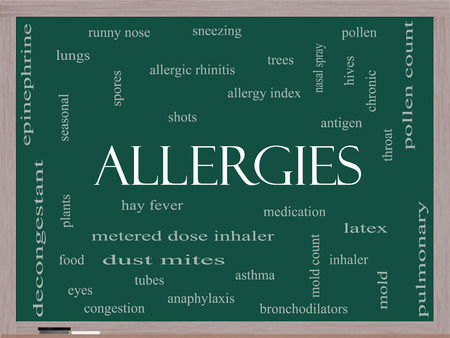 Allergies Word Cloud Concept on a Blackboard with great terms such as food, pollen, mold and more. photo