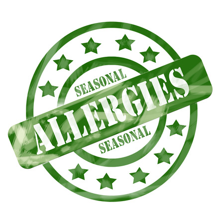 A green ink weathered roughed up circles and stars stamp design with the words SEASONAL ALLERGIES on it making a great concept.