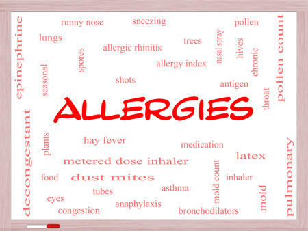 Allergies Word Cloud Concept on a Whiteboard with great terms such as food, pollen, mold and more.
