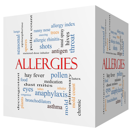Allergies 3D cube Word Cloud Concept with great terms such as food, pollen, mold and more. photo