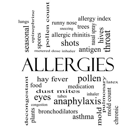 Allergies Word Cloud Concept in black and white with great terms such as food, pollen, mold and more. photo