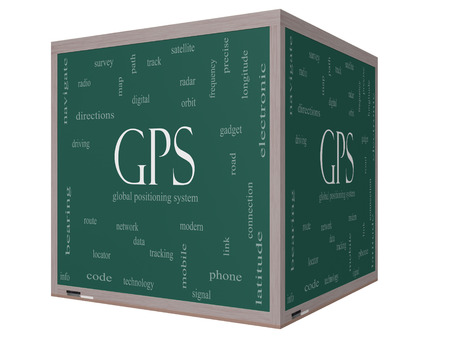 global positioning system: GPS Word Cloud Concept on a 3D cube Blackboard with great terms such as global, positioning, system and more.
