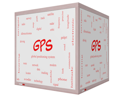 global positioning system: GPS Word Cloud Concept on a 3D cube Whiteboard with great terms such as global, positioning, system and more.