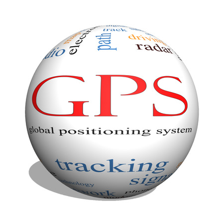 GPS 3D sphere Word Cloud Concept with great terms such as global, positioning, system and more. Archivio Fotografico
