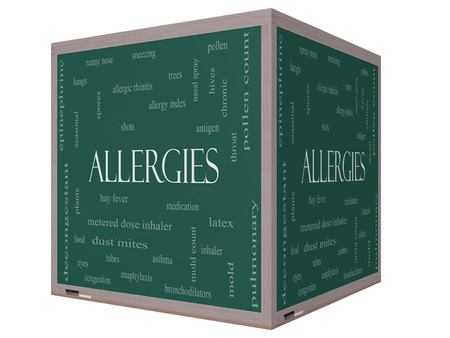 Allergies Word Cloud Concept on a 3D cube Blackboard with great terms such as food, pollen, mold and more. photo