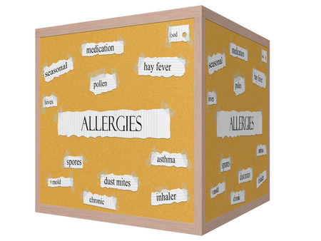 Allergies 3D cube Corkboard Word Concept with great terms such as pollen, mold, hives and more. Stock Photo